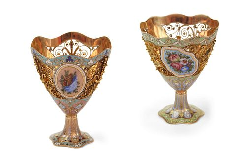 A Pair of Swiss Gold and Enamel Zarfs
