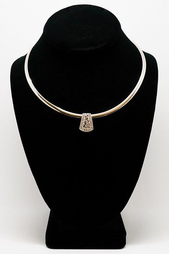 Italian Two-Tone 14K & Diamond Pendant Necklace