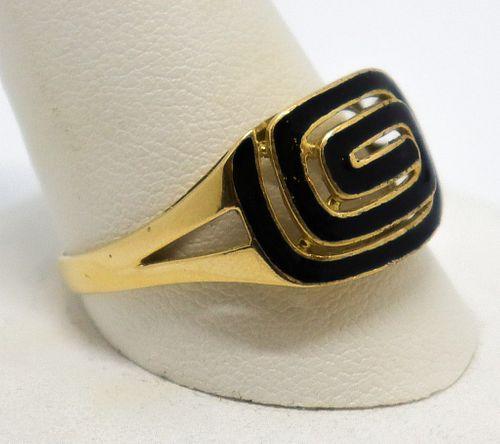Vintage Italian 18K Yellow Gold & Enamel Ring