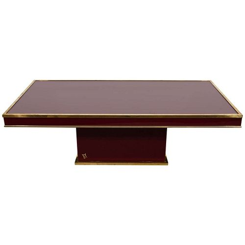 Eric Maville Lacquer & Brass Modern Coffee Table