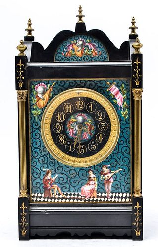 Aesthetic Movement Marble & Enamel Mantel Clock