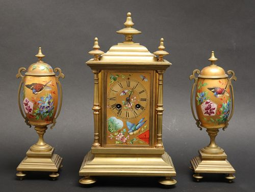 Japy Freres French Bronze & Porcelain Clock Set
