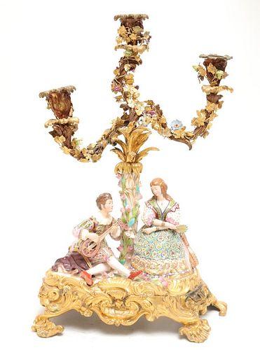 English Porcelain & Gilt Bronze Figural Candelabra