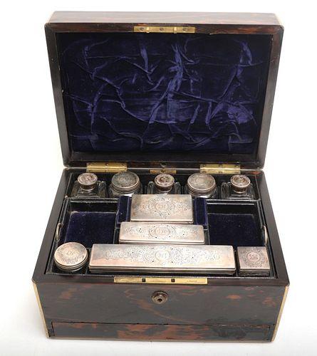 S. Mordan & Co. Travel Vanity, Silver Lidded Jars