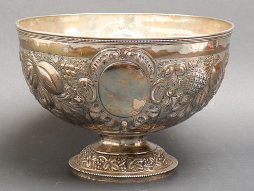 19th C. English Silver Repousse Punch Bowl, 1887