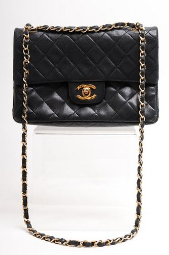 Chanel Vintage Black Quilted Leather Handbag