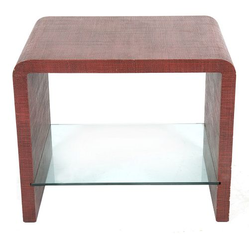 Karl Springer Style Linen Wrapped Waterfall Table