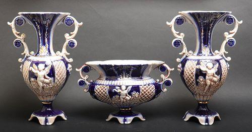 Capodimonte Polychrome Porcelain Garniture Set, 3