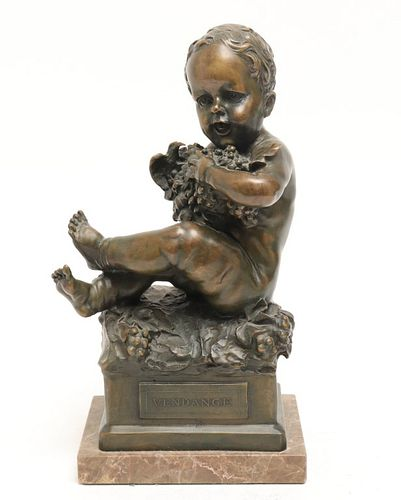 "Gerart Signed ""Vendange"" Bronze Figural Sculpture"