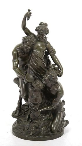 "Claude Michel ""Clodion"" Satyr Figural Group Bronze"