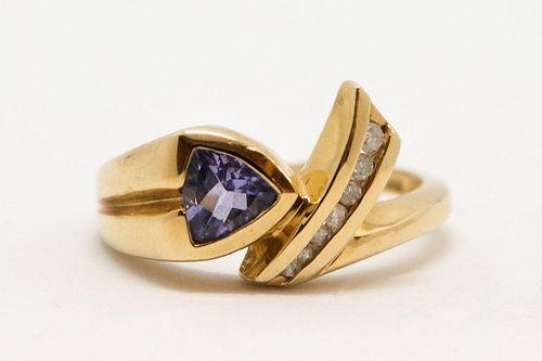 Vintage 14K Yellow Gold Tanzanite & Diamond Ring