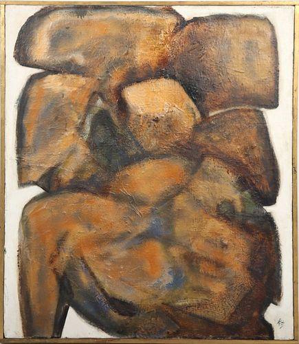 "Signed Katz ""Golden Torso"" Abstract Oil on Canvas"