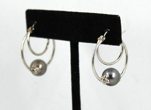 14K White Gold & Pearl Double Hoop Earrings