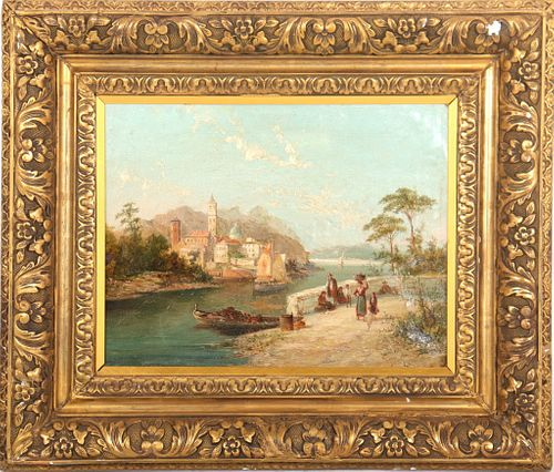 """William Dommerson """"Village on the River"""" Oil"""