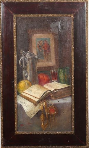 Illegibly Signed Continental School Oil on Canvas