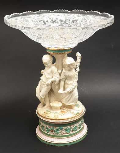 Copeland Porcelain Figural Compote Cut Glass Bowl