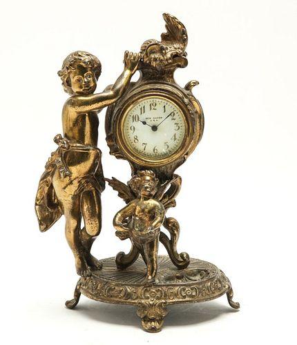 New Haven Clock Co. Rococo Manner Gilt Putti Clock
