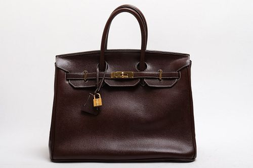 "Hermes Style ""Birkin"" Leather Handbag"