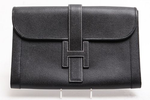 Hermes Style Black Leather Clutch