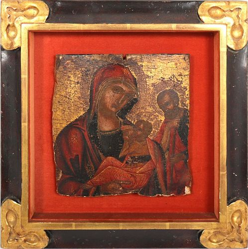 "Russian ""Madonna & Child"" Icon Fragment"