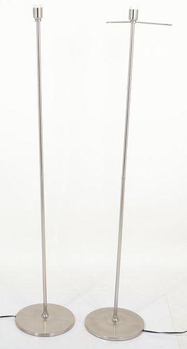 Modern Chrome Floor Lamps, Pair