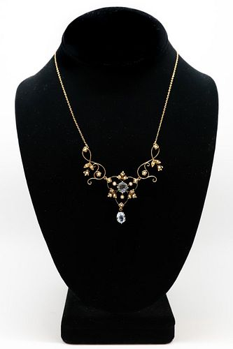 Edwardian 14K Yellow Gold Spinel & Pearl Necklace