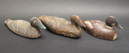 Victor Signed & Other Antique Wood Duck Decoys, 3