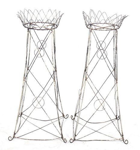 Victorian Garden Wire Planter Stands, Pair