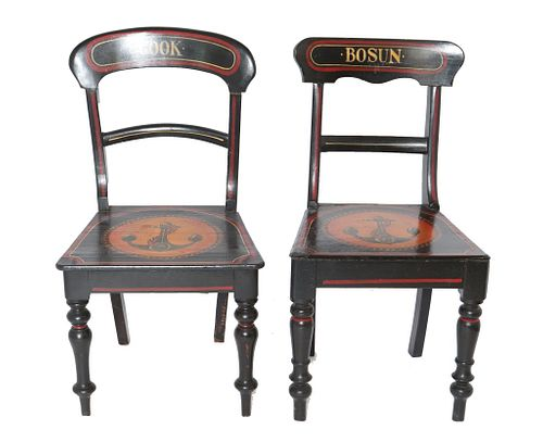 Regency Manner Nautical Painted Chairs, Set of 2
