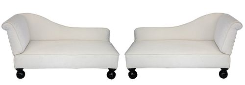 Regency Manner White Daybed / Sofa, Pair