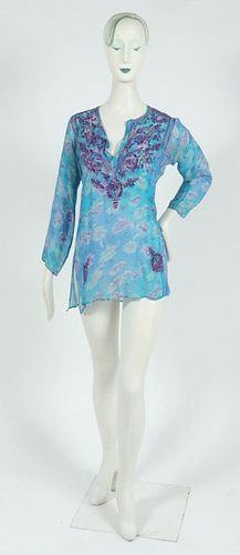 Calypso Embroidered Silk Blouse / Tunic