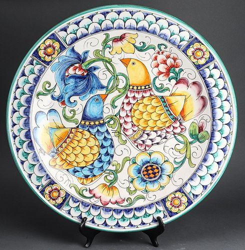 Italian Ceramic Monumental Charger Signed Apolito
