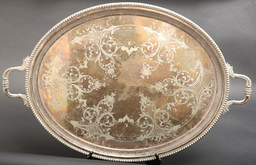 Large English Silver-Plate Serving Tray, ca. 1900
