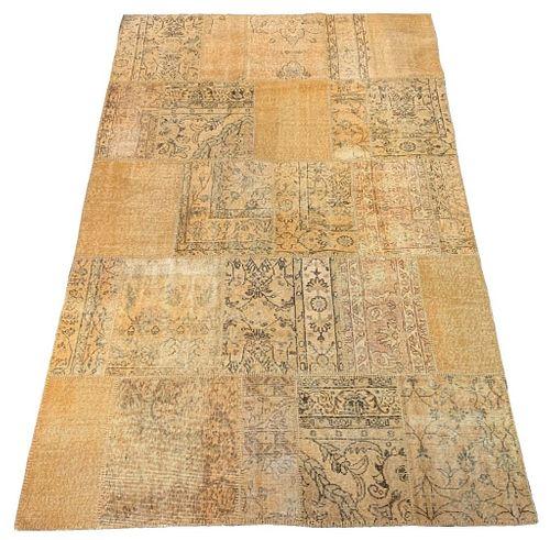 Isparta Turkish Wool Patchwork Carpet, 9' x 6'
