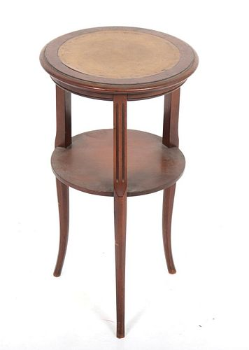 Regency Manner Leather Top Two-Tier Side Table