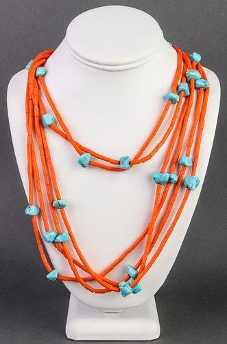 Orange Coral & Turquoise 6-Strand Beaded Necklace