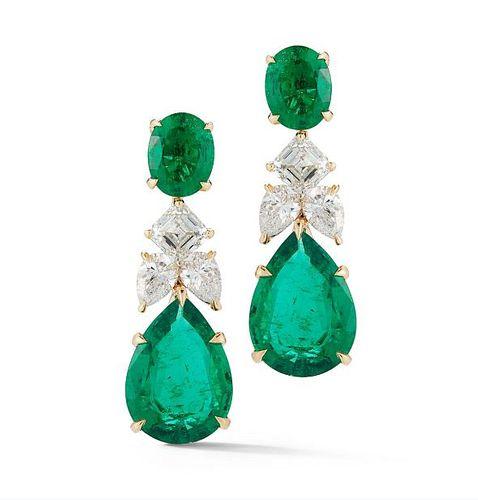 14.53ct Emerald And 4.41ct Diamond Earrings