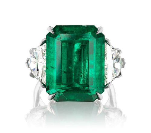 15.38ct Colombian Emerald And 4.94ct Diamond Ring