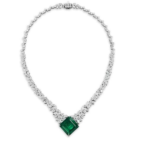 36.77ct Emerald And 35.10ct Diamond Necklace