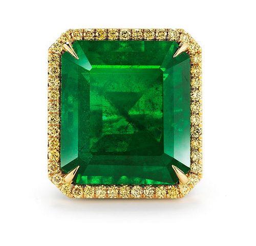 36.71ct Emerald And 3.81ct Diamond Ring