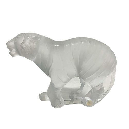 Lalique Frosted Tiger Sculpture