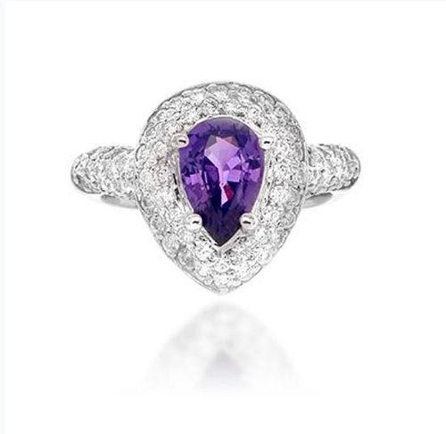 2.20ct Orange Sapphire And 1.16ct Diamond