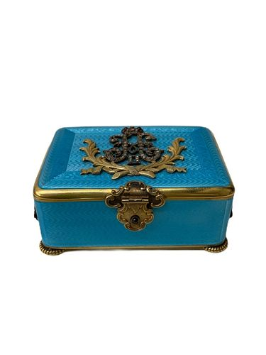 Russian Silver And Enamel Blue Vanity Box