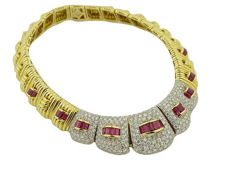 Ruby And 21.00ct Diamond Necklace