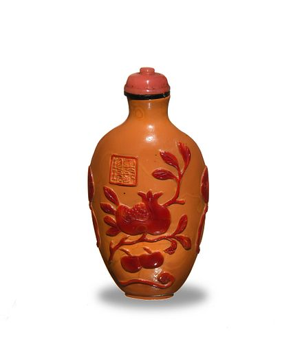 Chinese Peking Glass Snuff Bottle with Fruit, 19th Century