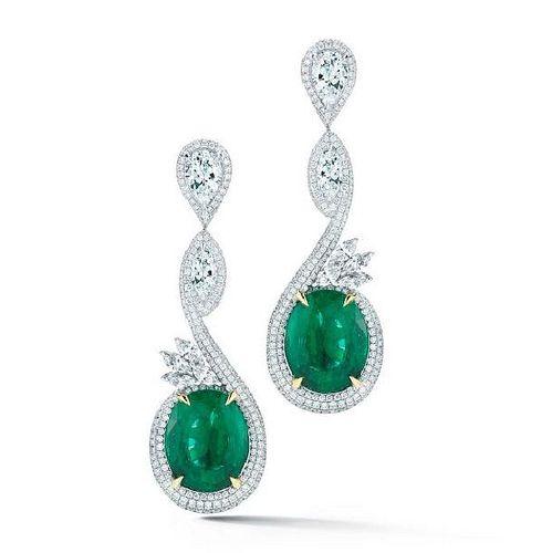 14.21ct Emerald And 7.35ct Diamond Earrings