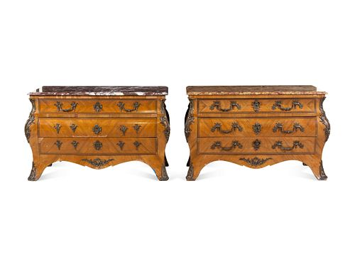 A Pair of Regence Style Bronze Mounted Marble-Top Commodes