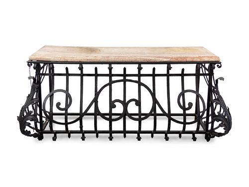A French Wrought Iron and Marble-Top Bombe Console Table