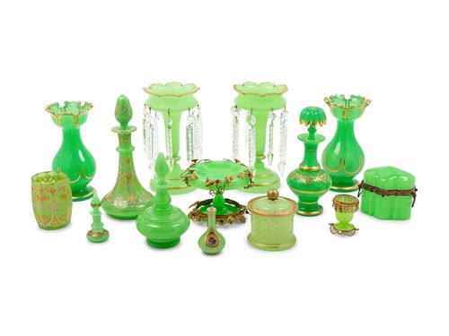Fifteen Green Opaline Glass Articles