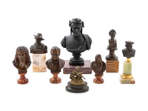 Seven Continental Bronze and Cast Metal Diminutive Busts